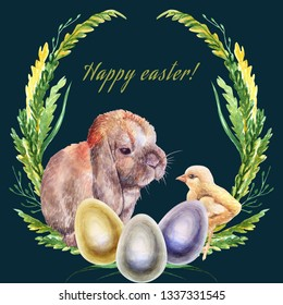 Easter card, realistic drawing of chicken  and rabbit drawn from life, and painted eggs, on a dark turquoise background, watercolor, hand-drawn