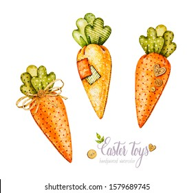 Easter carrots fabric toys. Watercolor Easter. Watercolor hand drawn botanical illustration. Hand-sewn vintage toys. Needlework.