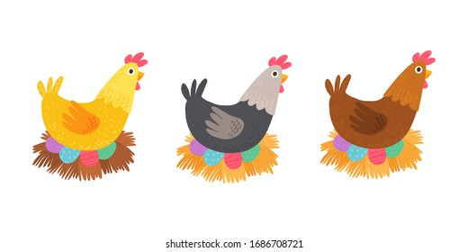 Easter chicken with holiday eggs isolated on white. Cartoon hand drawn  illustration isolated on dark background in a flat style.