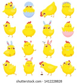 Easter chicks. Spring baby chicken, cute yellow chick and funny chickens. Newborn chicks birds character in eggs shell. Isolated cartoon  illustration icons set