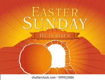 Easter christian motive, invitation to an Easter Sunday service with text on a background of rolled away from the tomb stone. Easter sunday holy week tomb logo