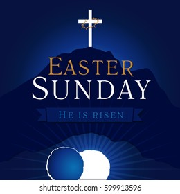 Easter christian motive, invitation to an Easter Sunday service with text He is risen on a background of rolled away from the tomb stone of Calvary. Easter sunday holy week calvary tomb card