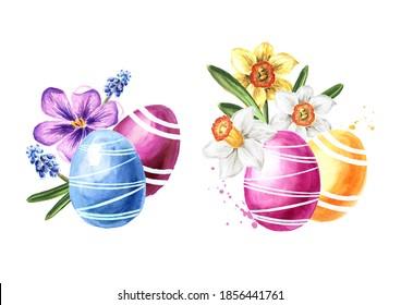 OEufs de Pâques et fleurs de printemps. Illustration à l'aquarelle dessinée à la main isolée sur fond blanc