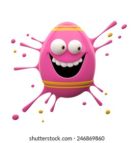 Easter coloring eggs, painted eggs, egg painting Easter, color splash, 3D cheerful character, merry supplement