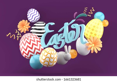 Easter composition with 3d font ,easter eggs,bunny,flower and ribbon on purple background.-3d rendering.