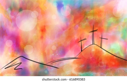 Easter cross design, hand drawn abstract simple hill illustration on colorful sunrise or sunset watercolor sky background