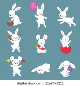 Easter cute happy bunny rabbit characters set. Easter bunny or rabbit, cute cartoon spring character illustration