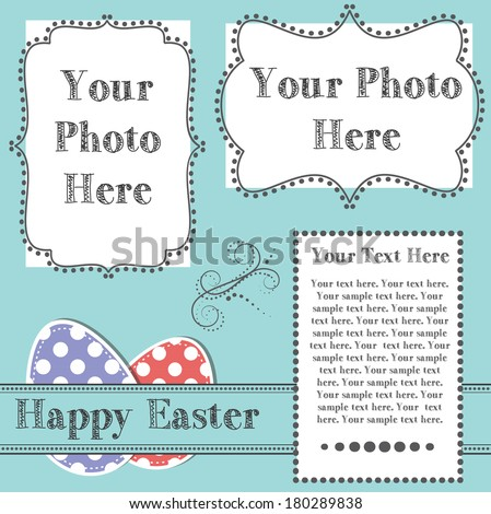 Easter design template with two 4x6 transparent frames for your events, scrapbooking or invitation designs