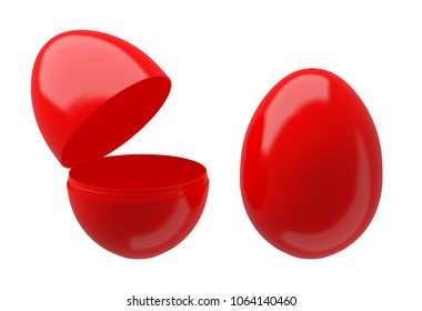 Easter egg boxes, closed and opened on white background (for presentation)