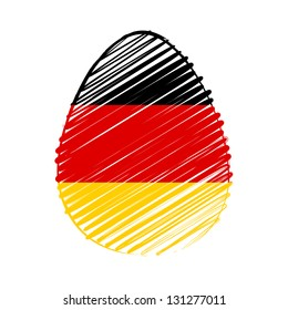 easter egg with German flag, striped drawing, holiday concept