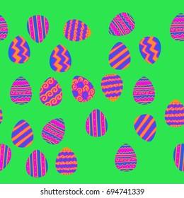 Easter egg horizontal  seamless  pattern. Hand drawn.