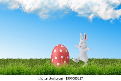 Easter Egg hunt morning scene with colorful and rich eggs and funny bunnies over green grasses under blue sky. 3D rendering.