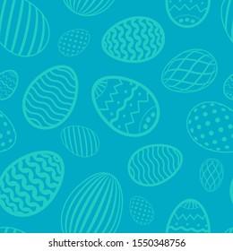 Easter egg seamless pattern. Blue color, holiday eggs texture. Simple abstract decorative template for Happy Easter celebration. Stylized cute ornament wallpaper, card, fabric illustration