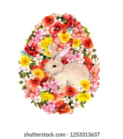 Easter egg shape - bunny, bright meadow flowers, poppies. Floral watercolor