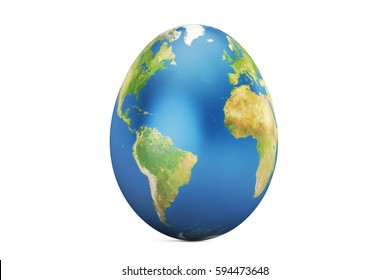 Easter egg with world map, 3D rendering isolated on white background, Elements of this image furnished by NASA
