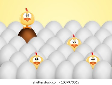 Easter eggs with chicks