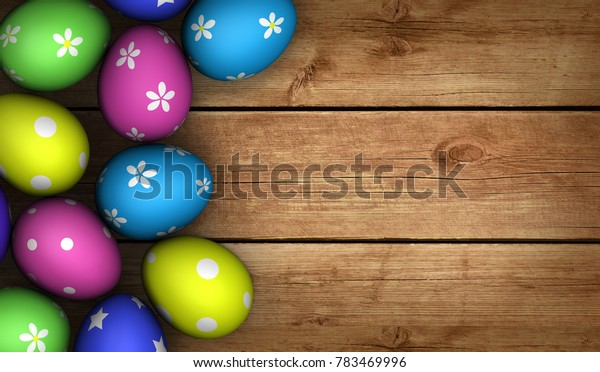 Easter eggs decorated in many different colors on wooden background with copy space 3D illustration.