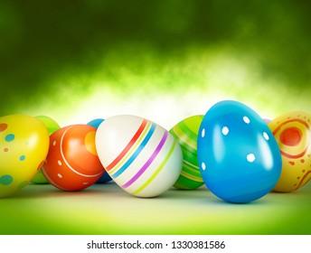 Easter eggs on green background. 3d illustration