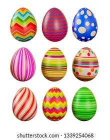 Easter eggs on a white background. Easter eggs. 3D rendering illustration.