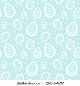 Easter eggs and specks, flecks, spots seamless repeat pattern. Brush drawn painted eggs and uneven speckles, blobs, dots chaotic texture. Free hand drawn Easter background. Raster version.