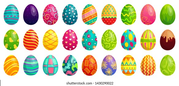Easter eggs. Spring colorful chocolate egg, cute colored patterns and happy easter decoration. Traditional religion holyday ornament eggs. Cartoon  isolated icons set