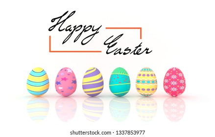 Easter eggs with text on white background 3D Image render