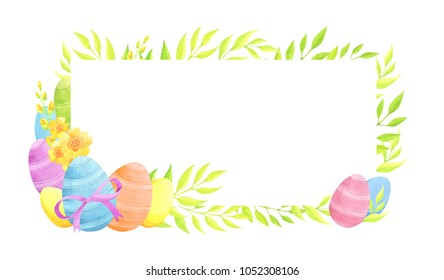 Easter frame with eggs and flowers. Watercolor illustration.