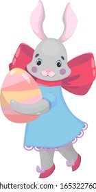Easter girl rabbit carries an egg. Happy Easter bunny in a dress and shoes with a bow. Hand drawn cartoon animal  illustration