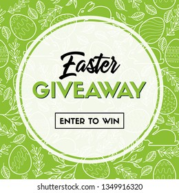 Easter giveaway banner template. Enter to win. Raster version