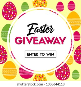 Easter giveaway. Banner template for social media contest. Raster version