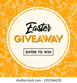 Easter giveaway. Enter to win. Banner template for social media contest. Raster version