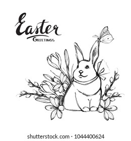 Easter greetings card with bunny