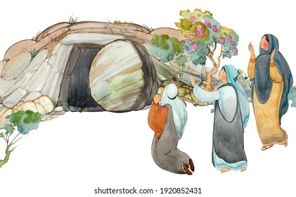 Easter hand drawn watercolor illustration of the Cave of the Resurrection of Christ, the Myrrh-Bearing Woman. Plowing clipart, Religious church background, print Resurrection