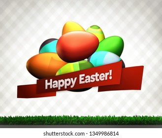 Easter holidays ecard with wishes (3D rendering)