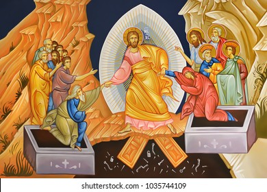 Easter. Illustration - fresco in Byzantine style depicting the scene of the Jesus Christ's resurrection
