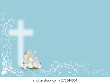 Charming Easter Lily And Cross On Blue Background