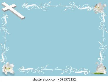 Marvelous Easter Lily And Cross On Blue Background