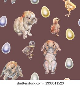 Easter pattern, realistic drawing of chickens and rabbits drawn from nature, and painted eggs, on a burgundy   background, watercolor, hand-drawn