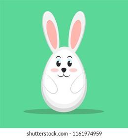 Easter rabbit on green background, stock illustration