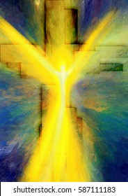 Easter resurrection - abstract artistic religious digital illustration with the figure of the risen jesus Christ and the cross of light rays