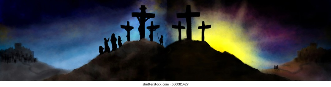 Easter resurrection and crucifixion of Jesus Christ, religious pastel style holy week illustration.
