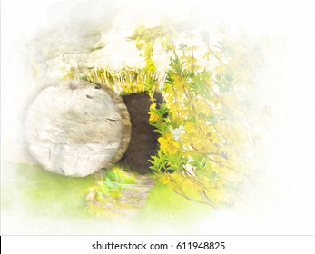 Easter resurrection - empty tomb in a rock in the garden. Abstract artistic religious illustration in watercolor style.