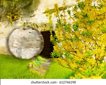 Easter resurrection - empty tomb in a rock in the garden. Abstract artistic religious illustration in oil painting style.