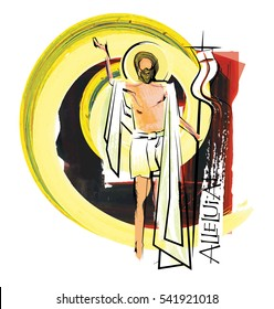 Easter Resurrection of Jesus Christ - the risen Lord, abstract artistic religious Easter illustration.Watercolor style digital painting design.