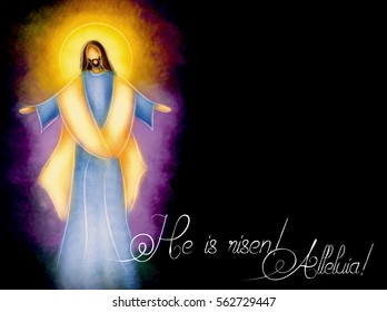 Easter resurrection religious background - the risen Lord Jesus Christ. abstract artistic pastel digital painting illustration.