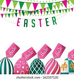 Easter sale eggs background. Royalty free stock illustration for ads, marketing, poster, flyer, blog, article, social media