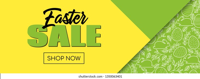 Easter sale. Shop now. Banner template with easter pattern. Raster version