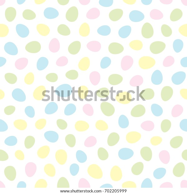 Easter seamless pattern with colorful eggs on white background. Holiday pastel backdrop for greeting card, website, printing on fabric, gift wrap, postcard and wallpapers.