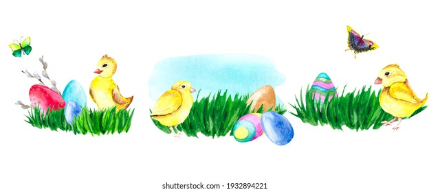 Easter set of watercolor chickens on a green lawn with colorful eggs. Colorful set isolated on a white background for decoration and decoration of holiday cards and illustrations.