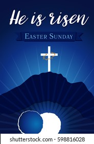 Easter sunday holy week calvary tomb banner. Easter christian motive, invitation to an Easter Sunday service with text He is risen on a background of rolled away from the tomb stone of Calvary